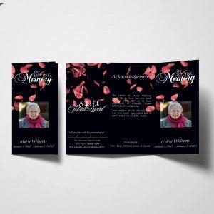 Royal Roses Trifold Funeral Program