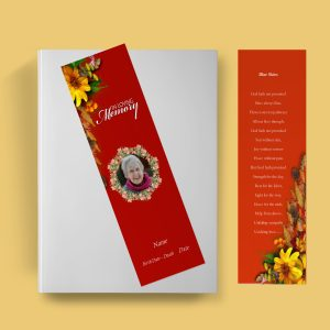 Semi Red Funeral Bookmark Template