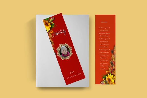 Semi Red Funeral Bookmark Template front cover
