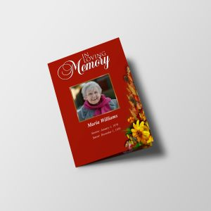 Semi Red Half Page Funeral Program Template