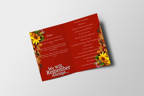 Semi Red Half Page Funeral Program Template inner page