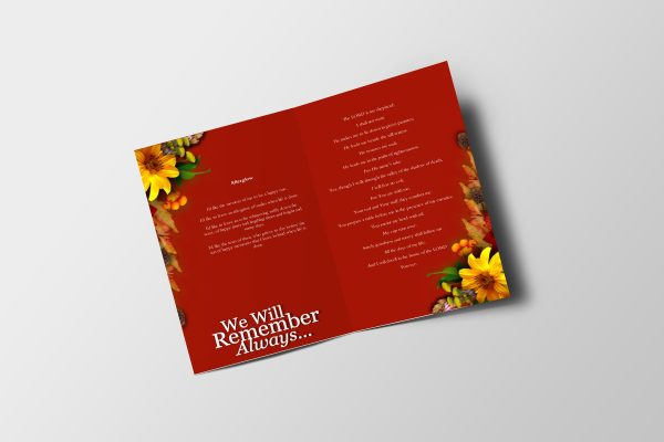 Semi Red Funeral Program Template inner page