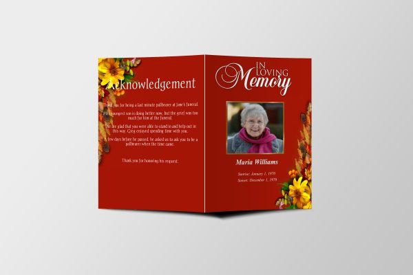 Semi Red Half Page Funeral Program Template front cover