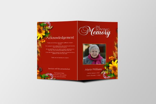Semi Red Funeral Program Template front page