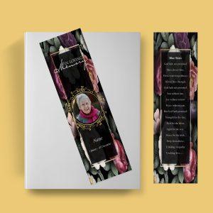 Premium Floral Funeral Bookmark Template
