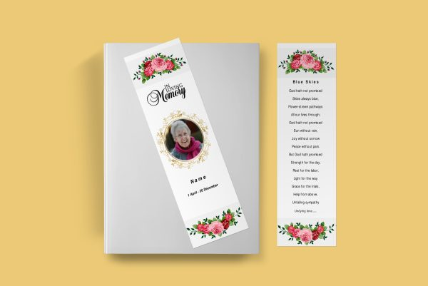 Watercolor Funeral Bookmark Template front page