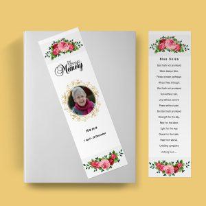 Watercolor Funeral Bookmark Template