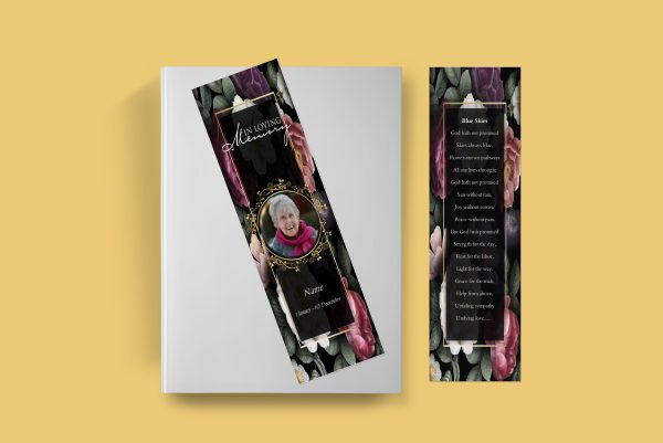 Premium Floral Funeral Bookmark Template Front cover and back cover