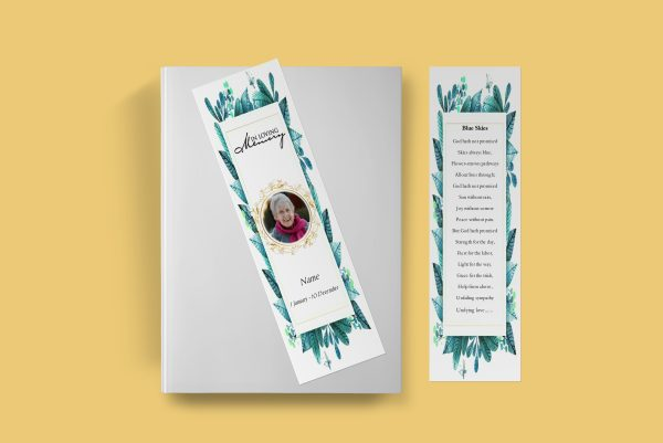 Elegant Leaf Funeral Bookmark Template Front Cover Inner Page