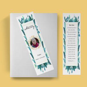 Elegant Leaf Funeral Bookmark Template
