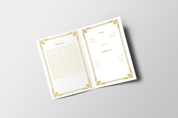 Golden Royalty Funeral Program Template inner page
