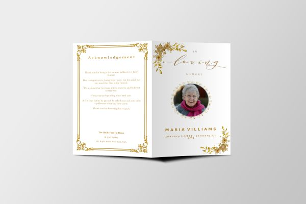 Golden Royalty Funeral Program Template front cover