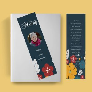 Simply Floral Funeral Bookmark Template