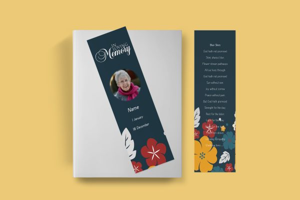 Simply Floral Funeral Bookmark Template front page